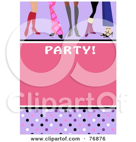 Royalty-Free (RF) Clipart Illustration of a Pink Party Invitation With Polka Dots And Stylish Shoes by peachidesigns