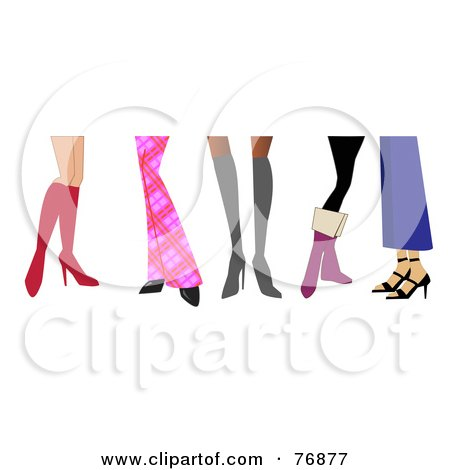 Royalty-Free (RF) Clipart Illustration of Women's Legs Wearing Boots And Heels by peachidesigns