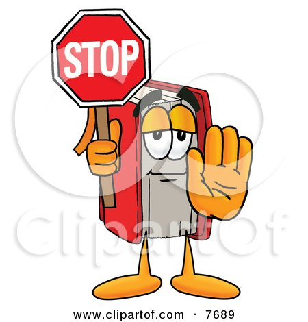Clipart Picture of a Red Book Mascot Cartoon Character Holding a Stop Sign by Toons4Biz