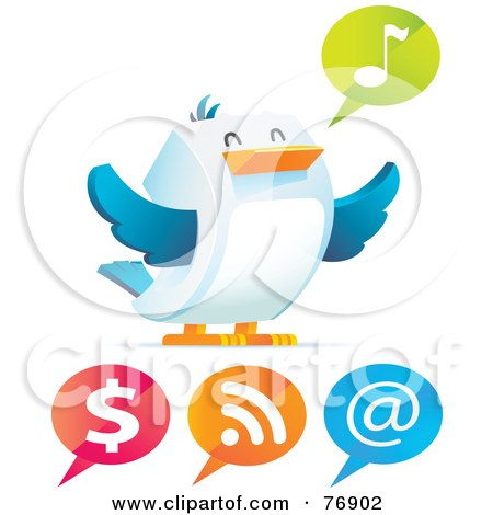Royalty-Free (RF) Clipart Illustration of a Happy Cubic Bird With Different Speech Balloons by Qiun