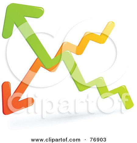 Royalty-Free (RF) Clipart Illustration of Orange And Green Up And Down Chart Arrows by Qiun
