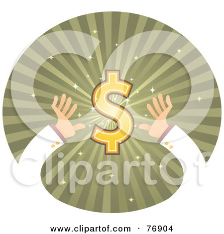 Royalty-Free (RF) Clipart Illustration of Hands Reaching For A Dollar Symbol On A Green Burst Circle by Qiun