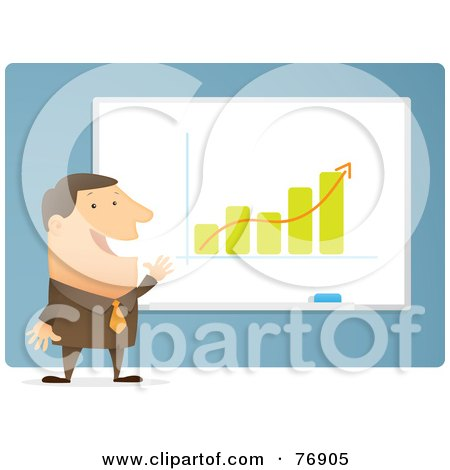 Royalty-Free (RF) Clipart Illustration of a Successful Businessman Giving A Presentation On The Increasing Growth Of A Company by Qiun