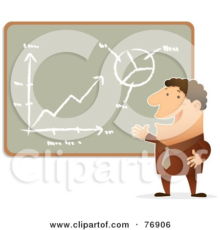 Royalty-Free (RF) Clipart Illustration of a Confident Businessman Presenting His Charts On A Chalk Board by Qiun