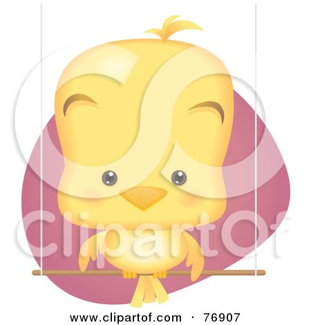 Royalty-Free (RF) Clipart Illustration of a Cute Baby Bird Sitting On A Perch Swing by Qiun