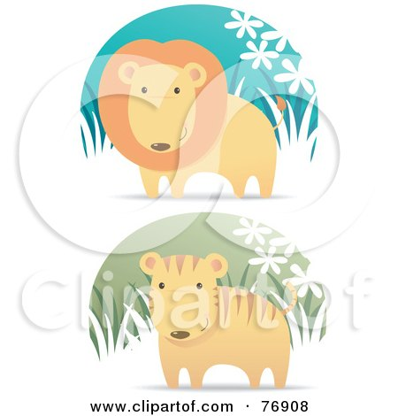 Royalty-Free (RF) Clipart Illustration of a Digital Collage Of A Male Lion And Cute Tiger In Grass by Qiun