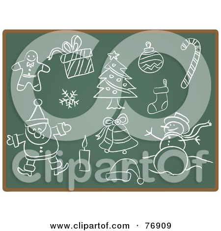 Royalty-Free (RF) Clipart Illustration of a Chalk Board With Sketches Of Christmas Items by Qiun