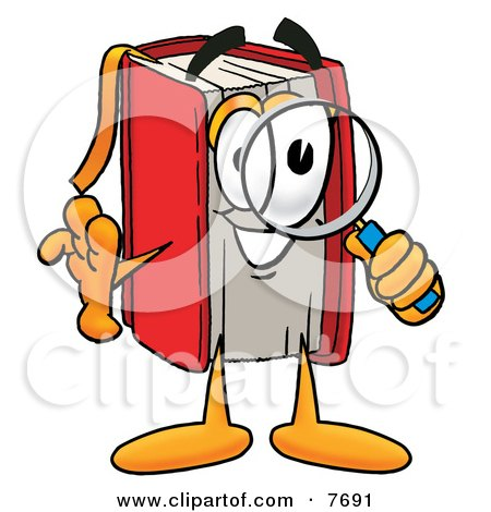 Clipart Picture of a Red Book Mascot Cartoon Character Looking Through a Magnifying Glass by Toons4Biz