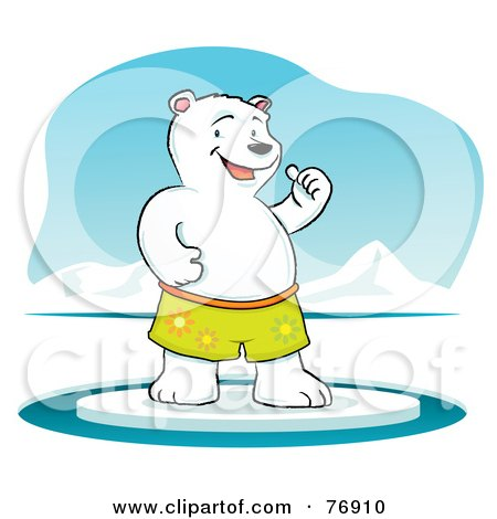 Cool Polar Bear Standing On Ice And Holding One Thumb Up Posters, Art Prints