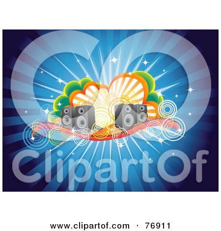 Royalty-Free (RF) Clipart Illustration of a Blue Funky Burst Music Background Of Speakers, Circles And Clouds by Qiun