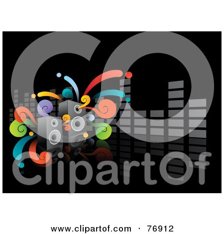 Royalty-Free (RF) Clipart Illustration of a Black Music Background With Funky Swirls, Speakers And A Gray Equalizer Bar by Qiun