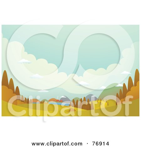Royalty-Free (RF) Clipart Illustration of an Autumn Landscape Of Hills And Villages by Qiun