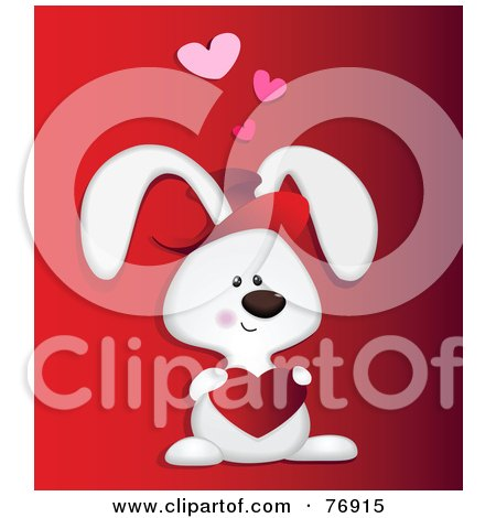 Royalty-Free (RF) Clipart Illustration of a Sweet Love Bunny Rabbit Holding A Heart by Qiun