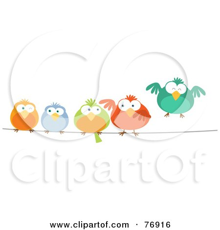 Royalty-Free (RF) Clipart Illustration of a Row Of Colorful Birds On A Wire by Qiun