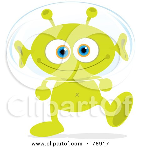 Royalty-Free (RF) Clipart Illustration of a Grinning Green Alien Walking And Wearing A Head Bubble by Qiun
