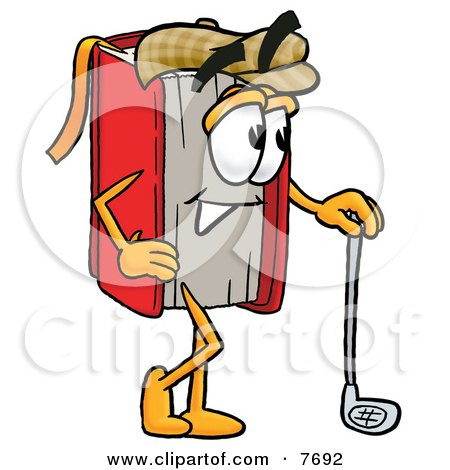 Clipart Picture of a Red Book Mascot Cartoon Character Leaning on a Golf Club While Golfing by Toons4Biz