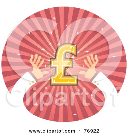 Royalty-Free (RF) Clipart Illustration of Hands Reaching For A Pound Symbol On A Pink Burst Circle by Qiun