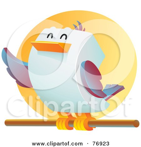 Royalty-Free (RF) Clipart Illustration of a Happy Cubic Bird Perched On A Stick by Qiun