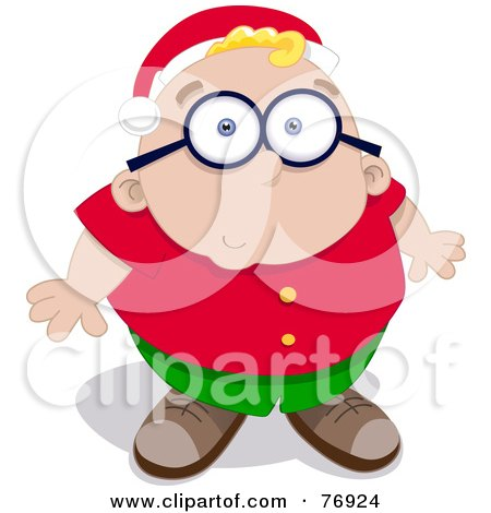 Royalty-Free (RF) Clipart Illustration of a Nervous Chubby Boy Looking Up And Wearing A Santa Hat by Qiun