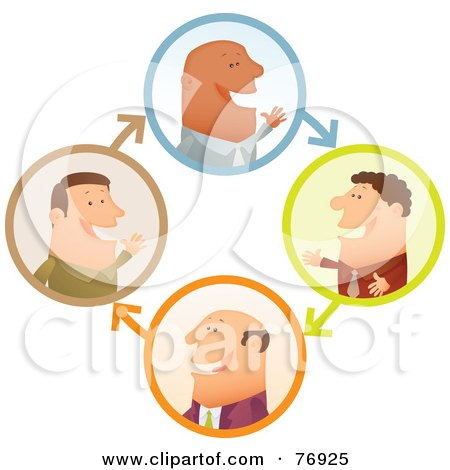 Royalty-Free (RF) Clipart Illustration of a Network Of Businessmen Chatting In Circles by Qiun