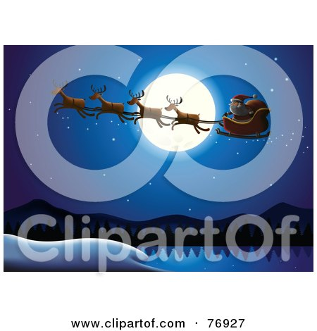 Royalty-Free (RF) Clipart Illustration of a Full Moon Providing Light For Santa And His Reindeer In The Night Sky by Qiun