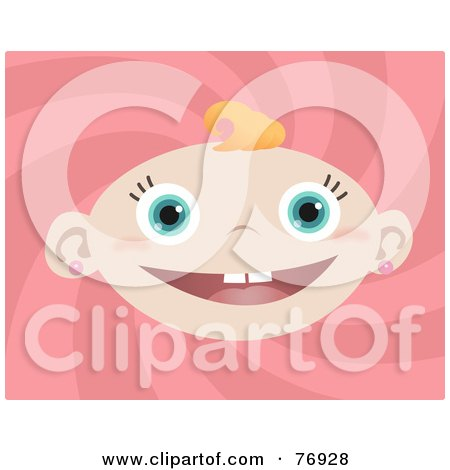 Royalty-Free (RF) Clipart Illustration of a Happy Blue Eyed Baby Girl Face With A Blond Curl, Over A Pink Swirl by Qiun