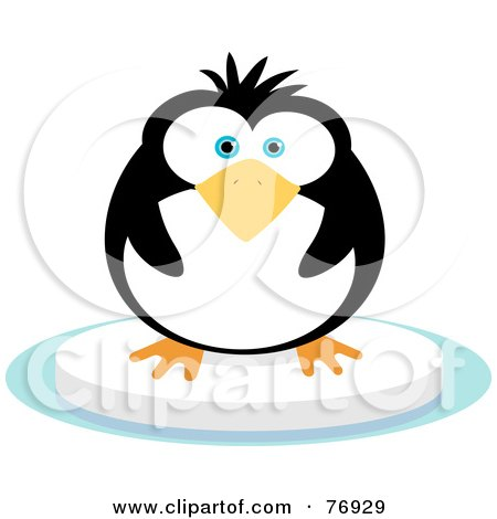 Royalty-Free (RF) Clipart Illustration of a Chubby Penguin On A Floating Block Of Ice by Qiun