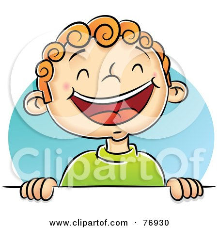 Royalty-Free (RF) Clipart Illustration of a Happy Boy Laughing And Holding Up A Blank Sign by Qiun