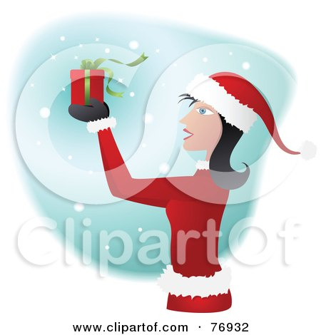 Royalty-Free (RF) Clipart Illustration of a Woman In A Santa Suit, Holding Up A Present In The Snow by Qiun