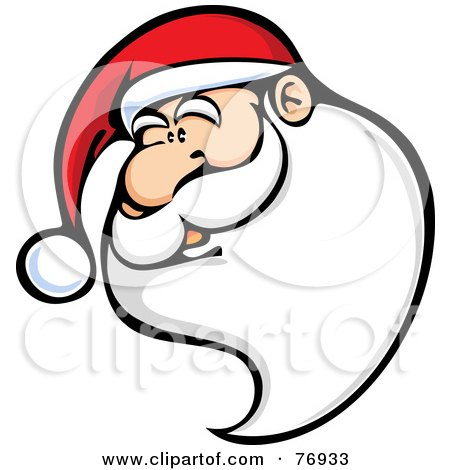 Royalty-Free (RF) Clipart Illustration of Kris Kringle Wearing A Santa Hat, With A Long Beard by Qiun