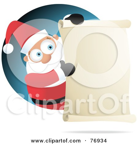 Royalty-Free (RF) Clipart Illustration of St Nick Presenting A Scrolled Naughty Or Nice List by Qiun