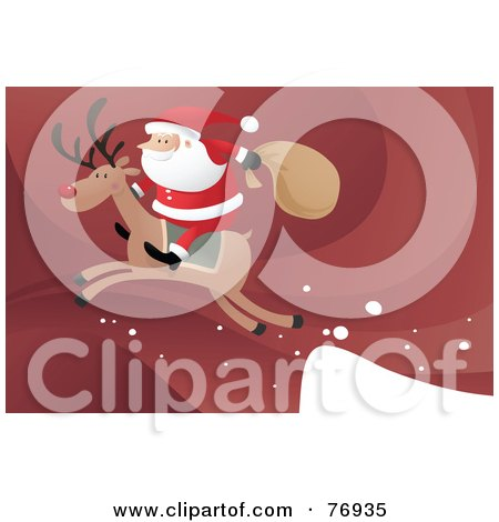 Royalty-Free (RF) Clipart Illustration of Santa Riding On The Back Of Rudolph As They Take Off From A Ledge by Qiun