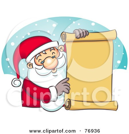 Royalty-Free (RF) Clipart Illustration of St Nick Holding A Scrolled Naughty Or Nice List by Qiun