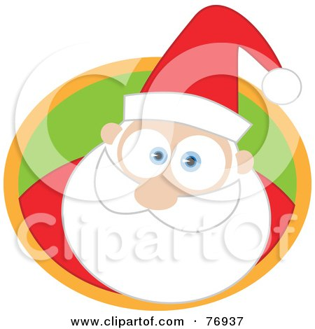 Royalty-Free (RF) Clipart Illustration of a Big Eyed Santa In A Green And Orange Circle by Qiun