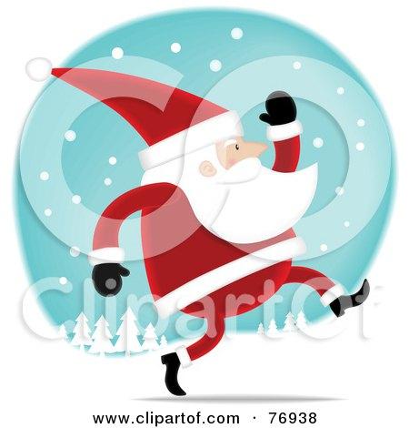 Illustration of a Blue Christmas Reindeer And Santa Sleigh BorderSanta Jogging