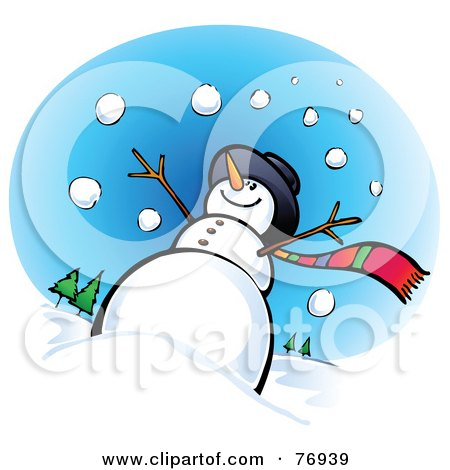 Royalty-Free (RF) Clipart Illustration of a Low Angle View Of A Snowman In The Snow by Qiun