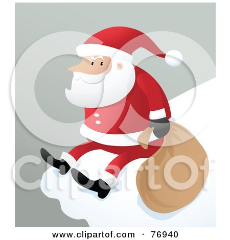 Royalty-Free (RF) Clipart Illustration of St Nick Sitting On The Ledge Of A Snow Covered Roof by Qiun