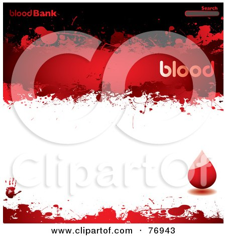 Royalty-Free (RF) Clipart Illustration of a Blood Bank Website Template With A Droplet And Search Box by michaeltravers