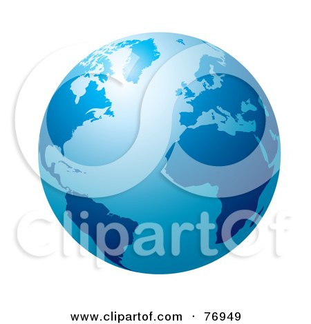 Royalty-Free (RF) Clipart Illustration of a Blue Globe With Light Shining Off Of The Top by michaeltravers