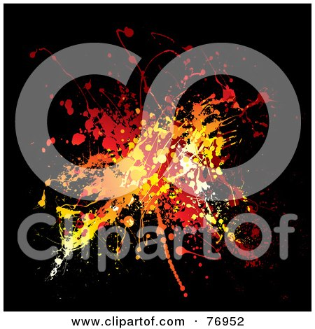 Royalty-Free (RF) Clipart Illustration of a Messy Orange, Yellow And Red Ink Splatter On Black by michaeltravers