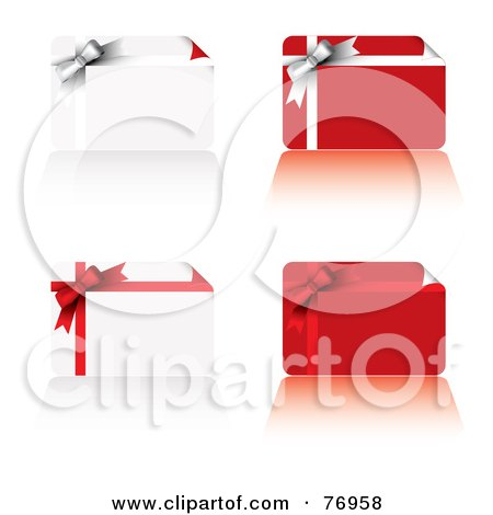 Royalty-Free (RF) Clipart Illustration of a Digital Collage Of Four Gift Cards With Ribbons And Bows by michaeltravers