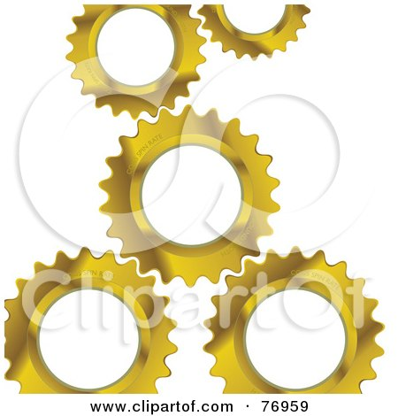 Royalty-Free (RF) Clipart Illustration of a Background Of Golden Gear Cogs Over White by michaeltravers