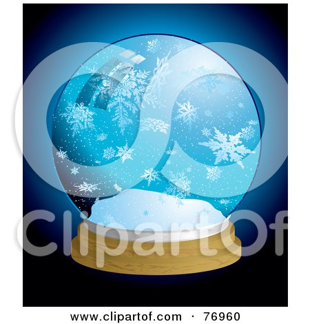 Royalty-Free (RF) Clipart Illustration of a Snow Globe With Large Icy Snowflakes Over Blue by michaeltravers