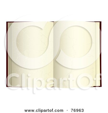 Royalty-Free (RF) Clipart Illustration of an Open Book With Blank Aged Pages by michaeltravers