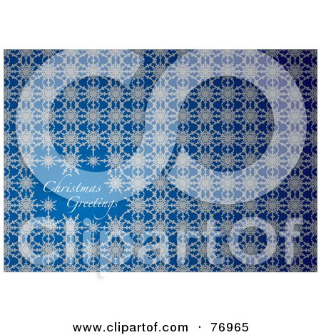 Royalty-Free (RF) Clipart Illustration of a Christmas Greetings Snowflake On Blue Background by michaeltravers