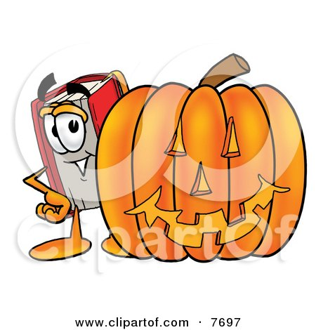 Clipart Picture of a Red Book Mascot Cartoon Character With a Carved Halloween Pumpkin by Toons4Biz