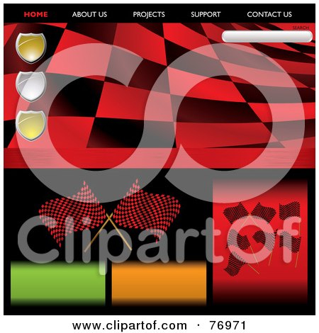 Royalty-Free (RF) Clipart Illustration of a Wavy Red Racing Flag Website Template by michaeltravers