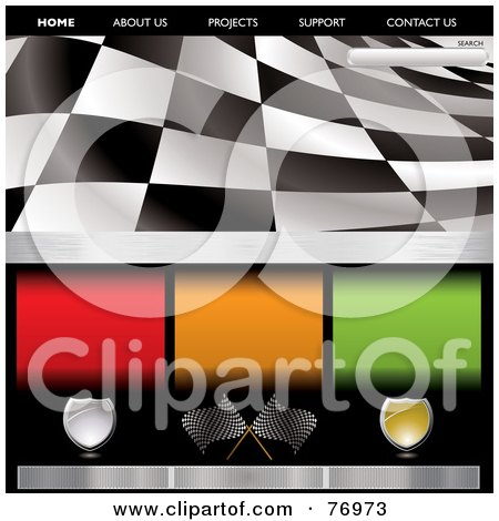 Royalty-Free (RF) Clipart Illustration of a Wavy Black And White Racing Flag Website Template by michaeltravers