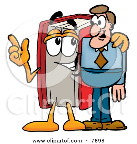 Clipart Picture of a Red Book Mascot Cartoon Character Talking to a Business Man by Toons4Biz