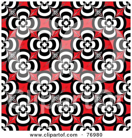Royalty-Free (RF) Clipart Illustration of a Seamless Background Of Black And White Retro Flowers On Red by michaeltravers